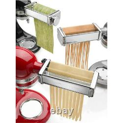 3PCS Stainless Steel Pasta Roller Cutter Attachment For KitchenAid Stand Mixer