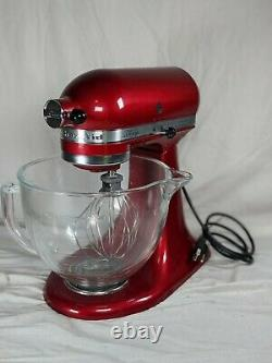 KitchenAid Red Artisan 5 Quart Stand Mixer Candy Red KSM155GBCA withBowl & Whisk